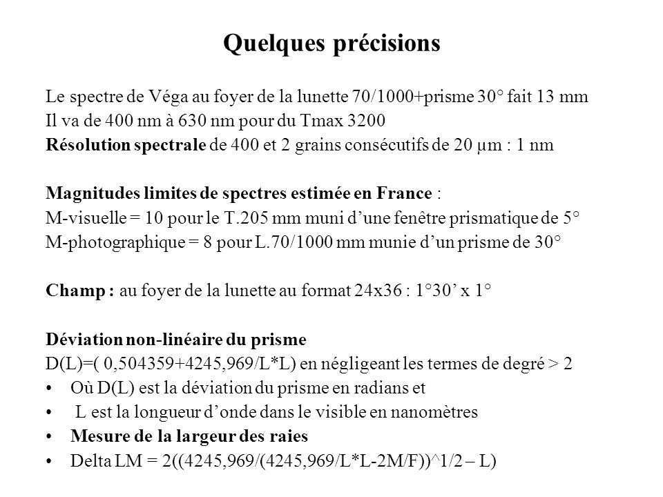 Quelques précisions Le spectre de Véga au foyer de la lunette 70/1000+prisme 30° fait 13 mm. Il va de 400 nm à 630 nm pour du Tmax 3200.