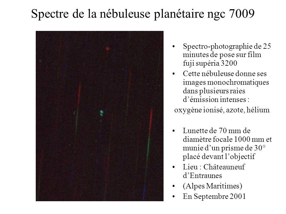 Spectre de la nébuleuse planétaire ngc 7009