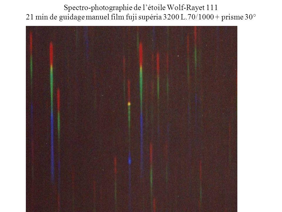 Spectro-photographie de l'étoile Wolf-Rayet 111 21 min de guidage manuel film fuji supéria 3200 L.70/1000 + prisme 30°