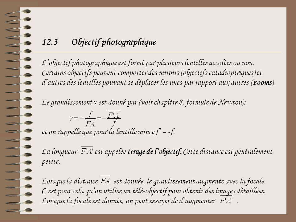 12.3 Objectif photographique