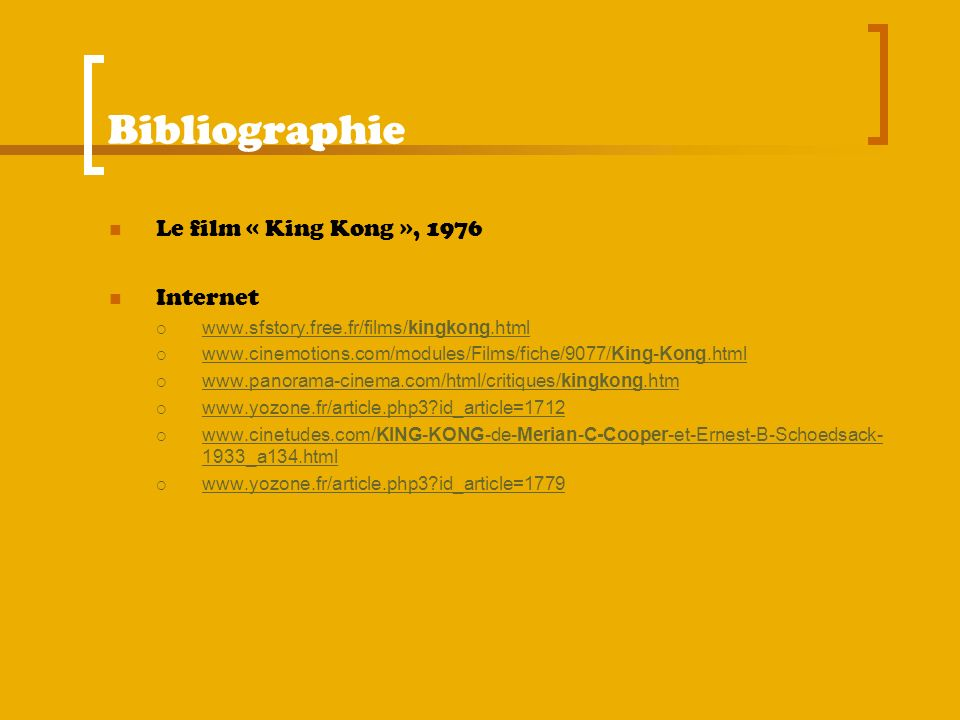 Bibliographie Le film « King Kong », 1976 Internet