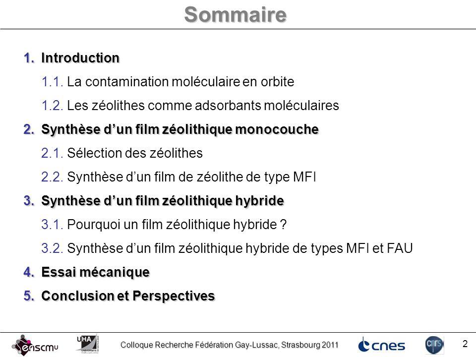 Sommaire Introduction 1.1. La contamination moléculaire en orbite