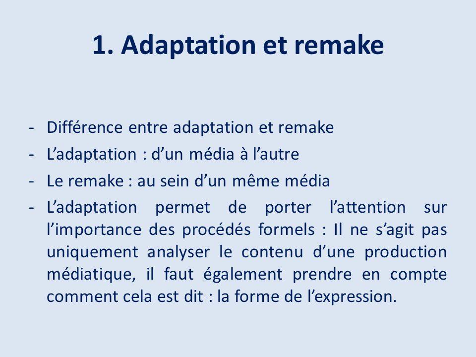 1. Adaptation et remake Différence entre adaptation et remake