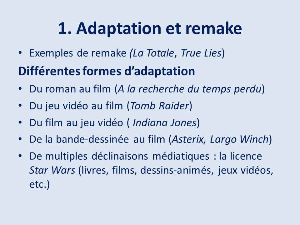 1. Adaptation et remake Différentes formes d'adaptation