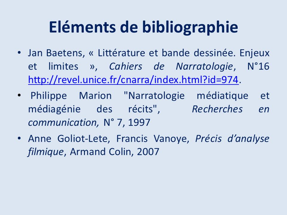 Eléments de bibliographie