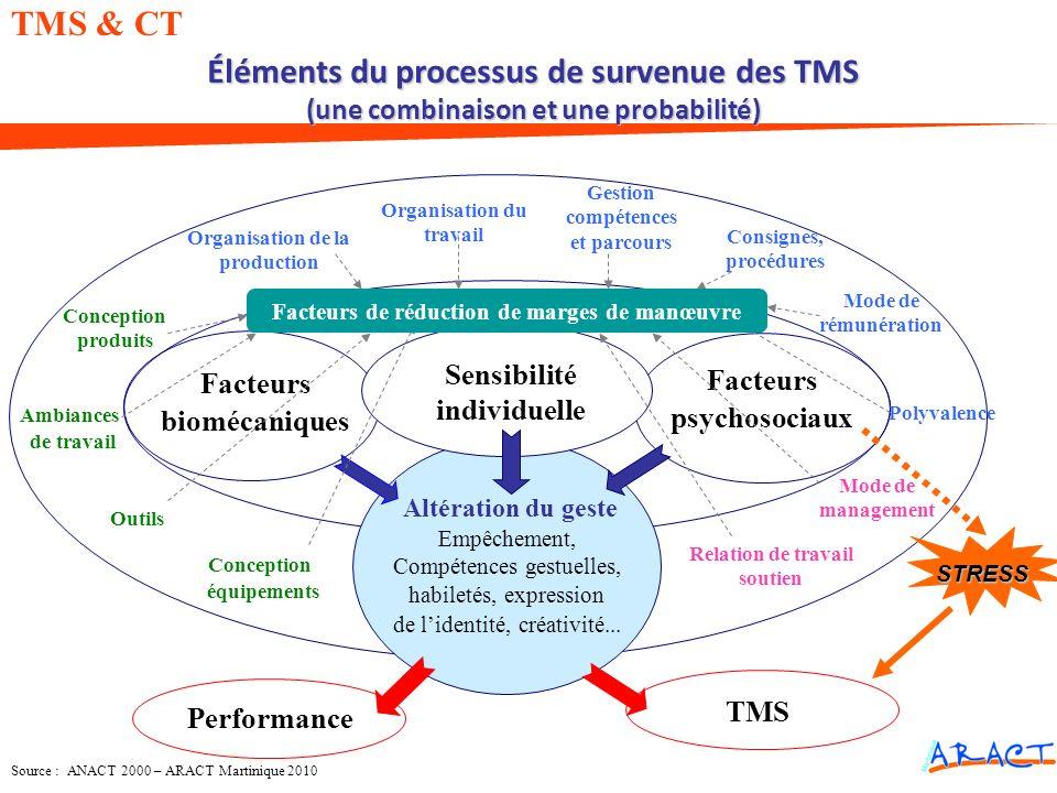 Éléments du processus de survenue des TMS