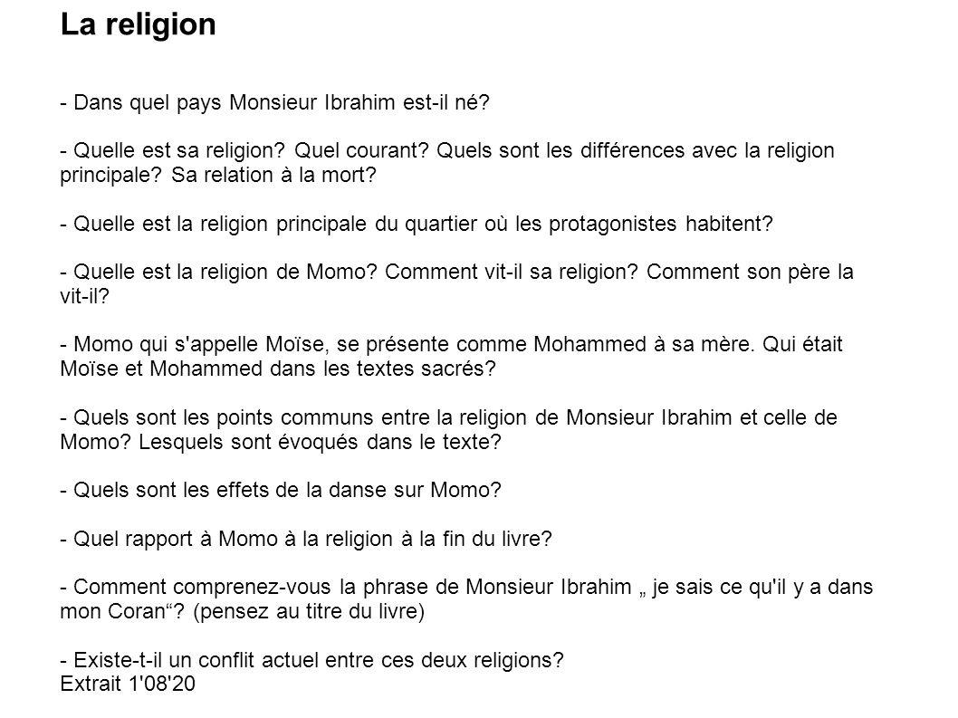 La religion - Dans quel pays Monsieur Ibrahim est-il né
