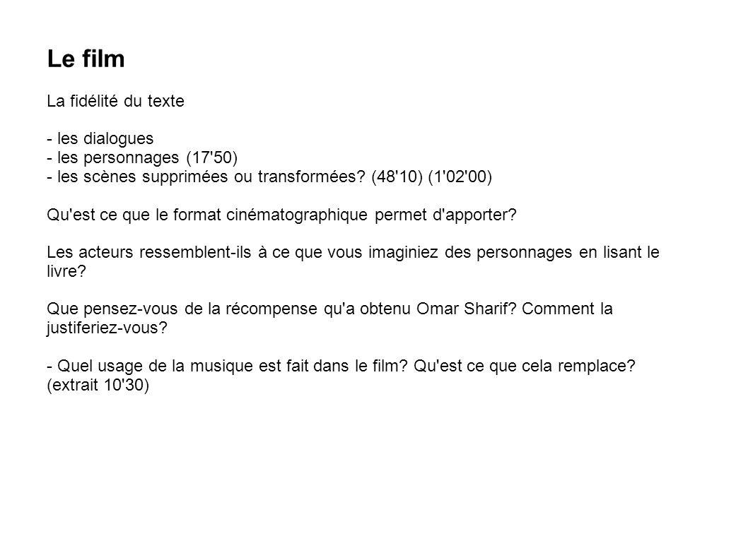 Le film La fidélité du texte - les dialogues - les personnages (17 50)