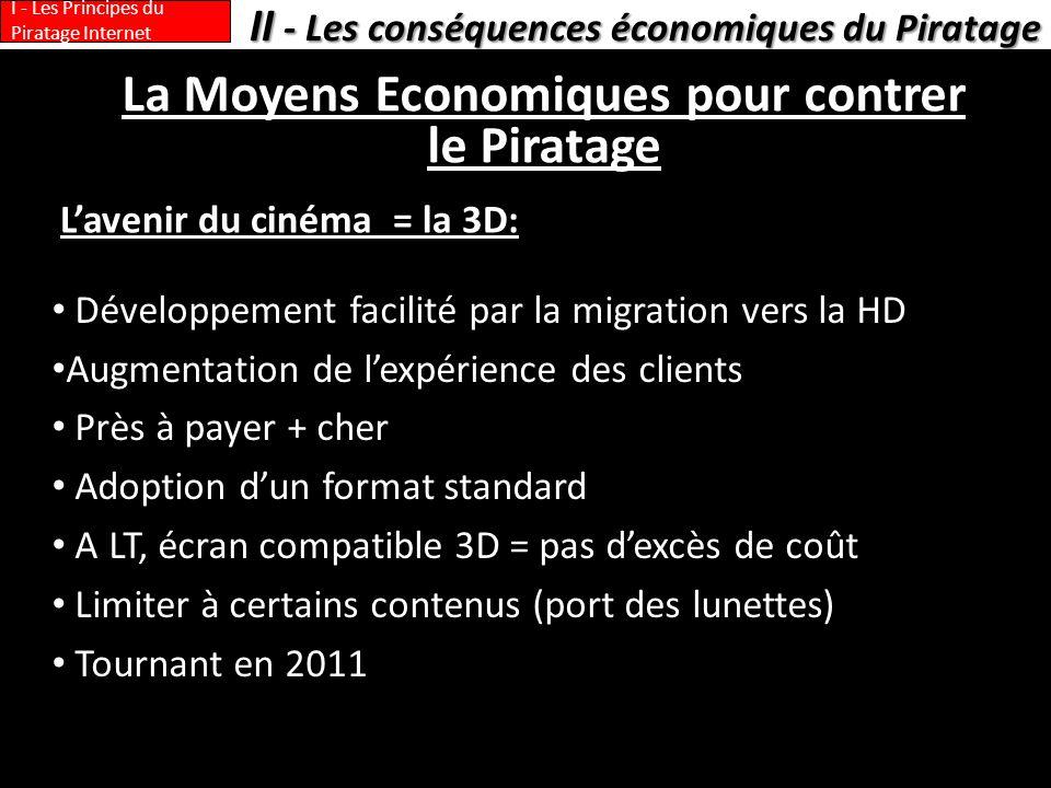 La Moyens Economiques pour contrer le Piratage