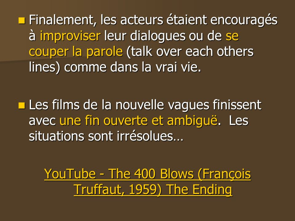 YouTube - The 400 Blows (François Truffaut, 1959) The Ending