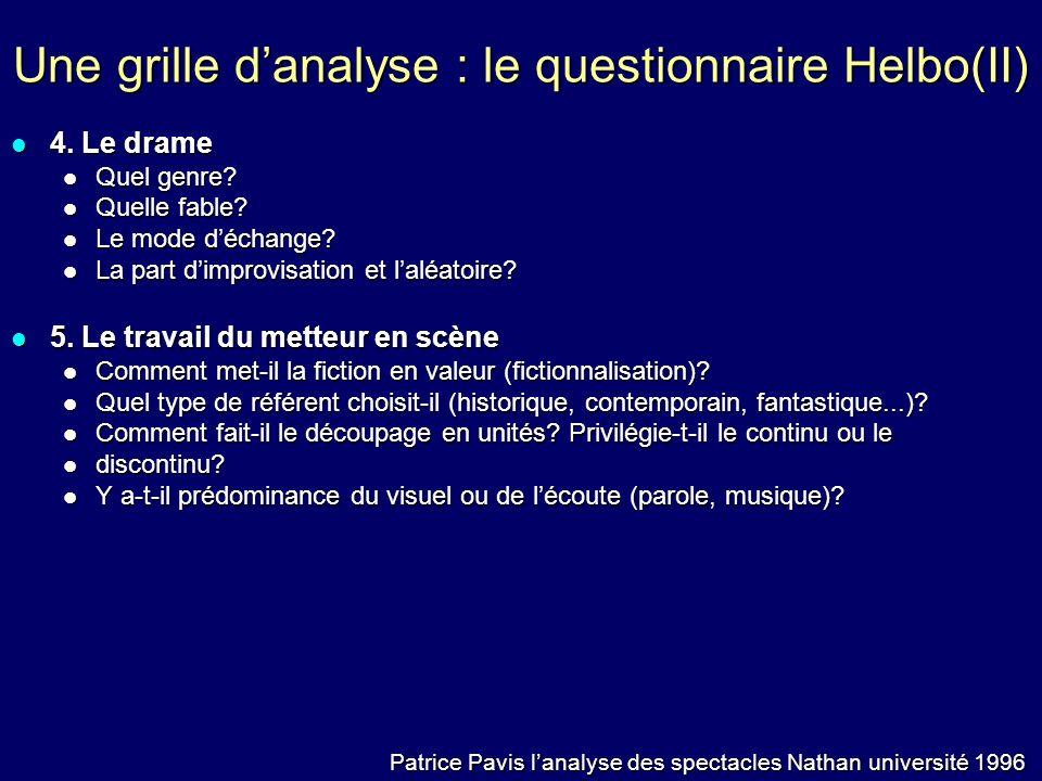 Une grille d'analyse : le questionnaire Helbo(II)