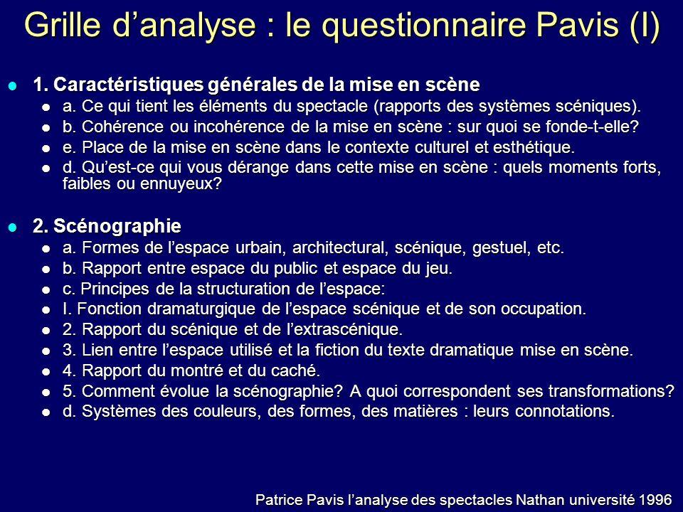 Grille d'analyse : le questionnaire Pavis (I)