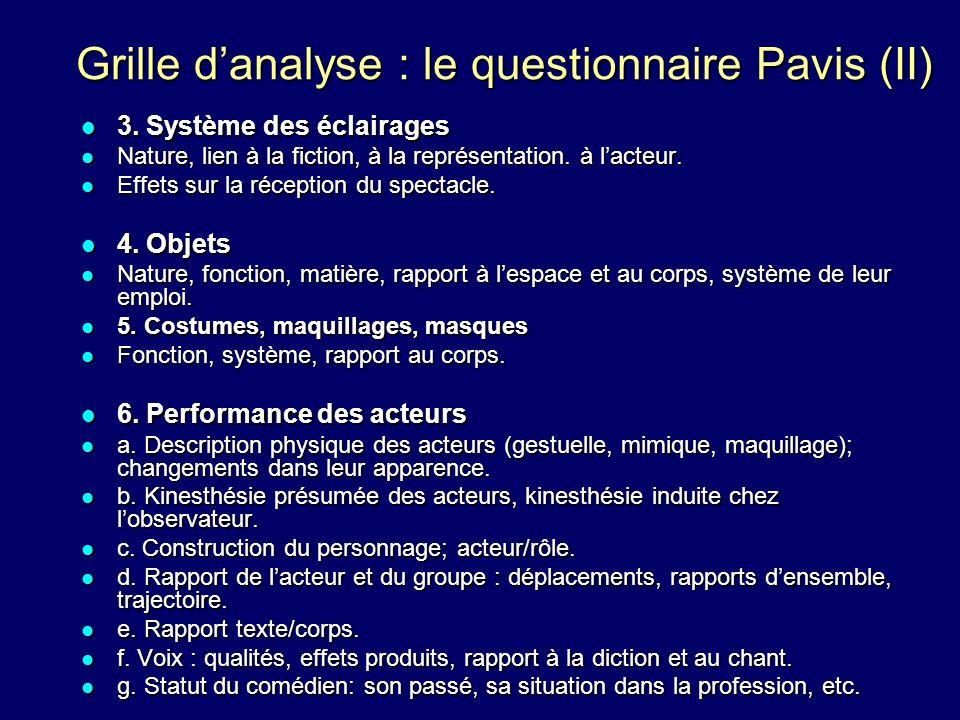 Grille d'analyse : le questionnaire Pavis (II)