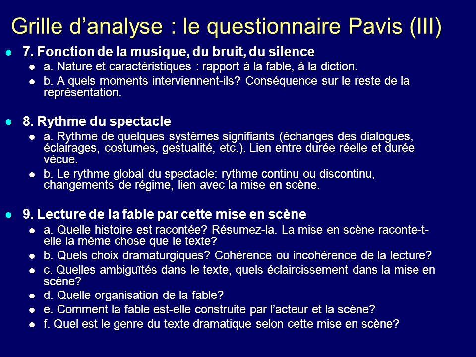 Grille d'analyse : le questionnaire Pavis (III)