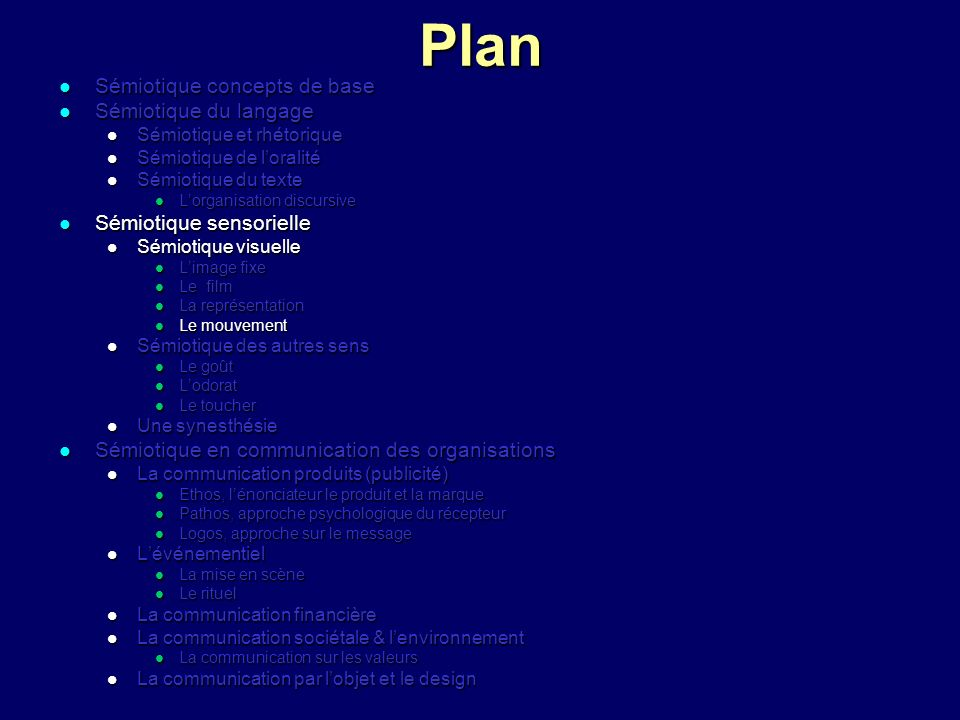 Plan Sémiotique concepts de base Sémiotique du langage