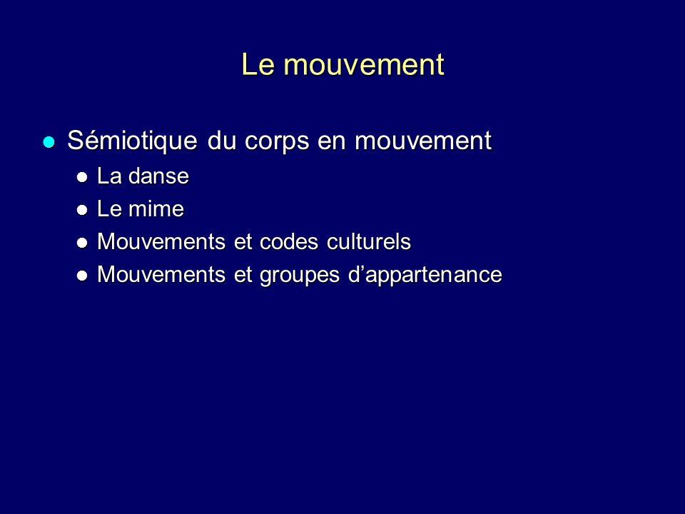 Le mouvement Sémiotique du corps en mouvement La danse Le mime