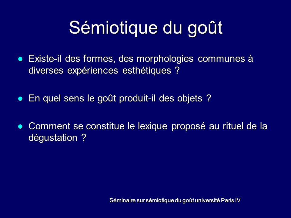 Séminaire sur sémiotique du goût université Paris IV