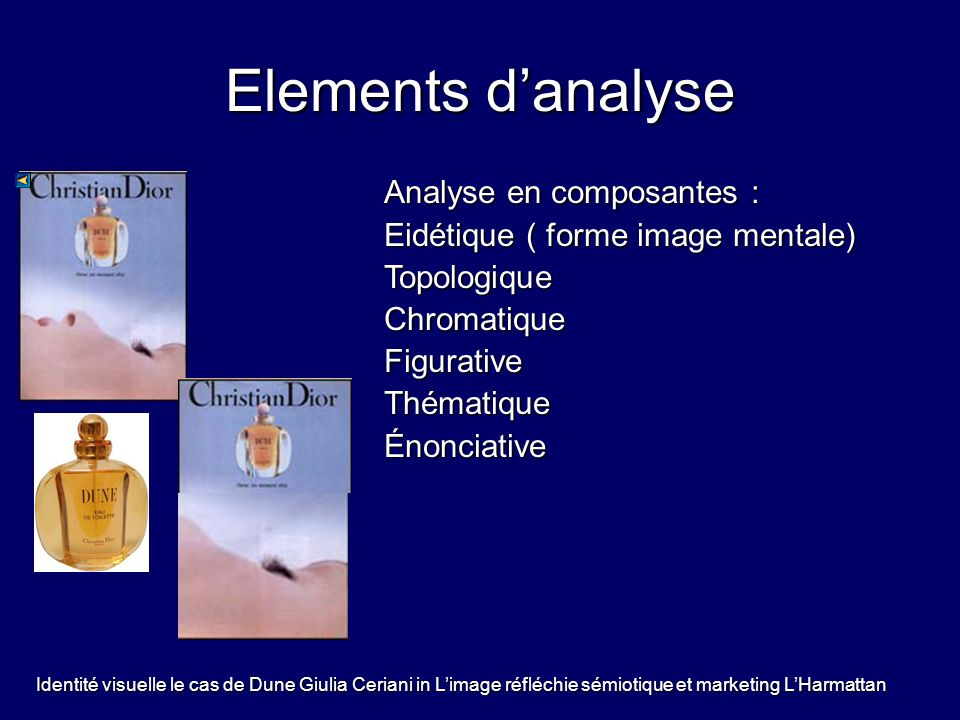 Elements d'analyse Analyse en composantes :