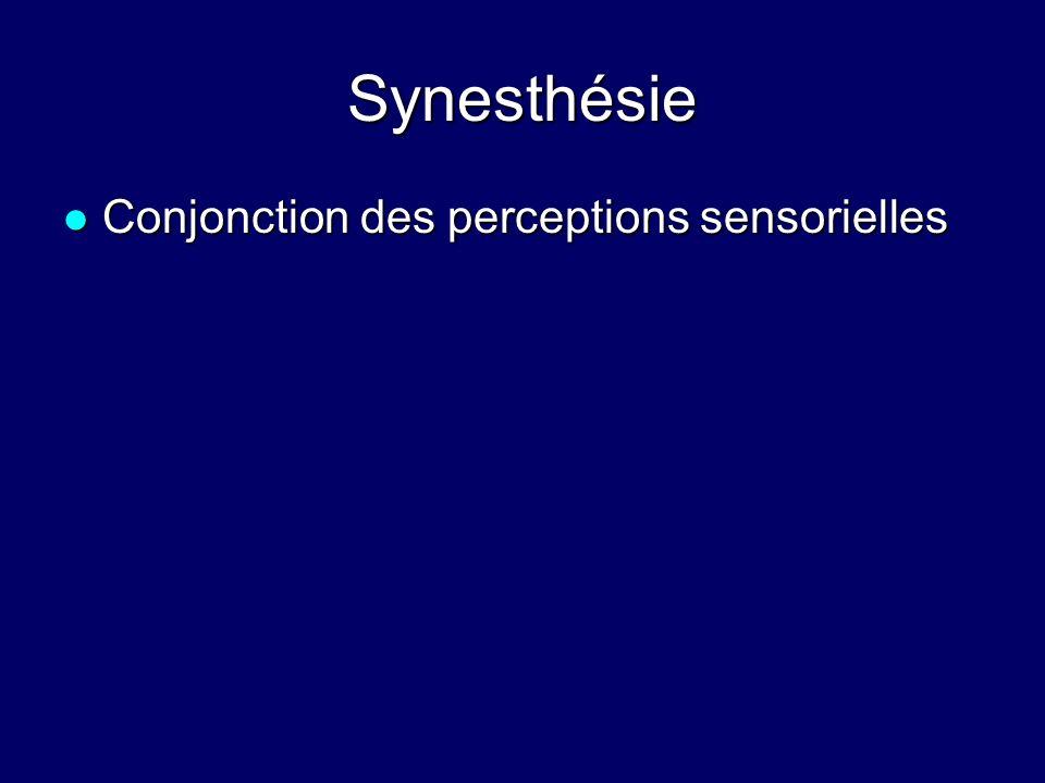 Synesthésie Conjonction des perceptions sensorielles