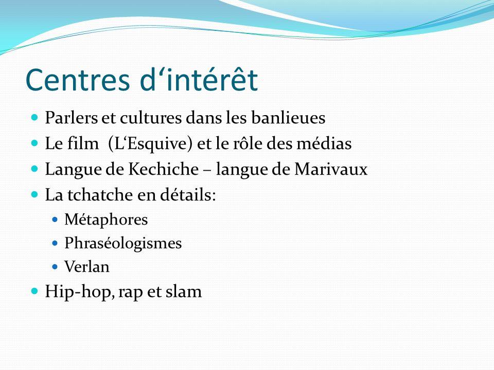 Centres d'intérêt Parlers et cultures dans les banlieues