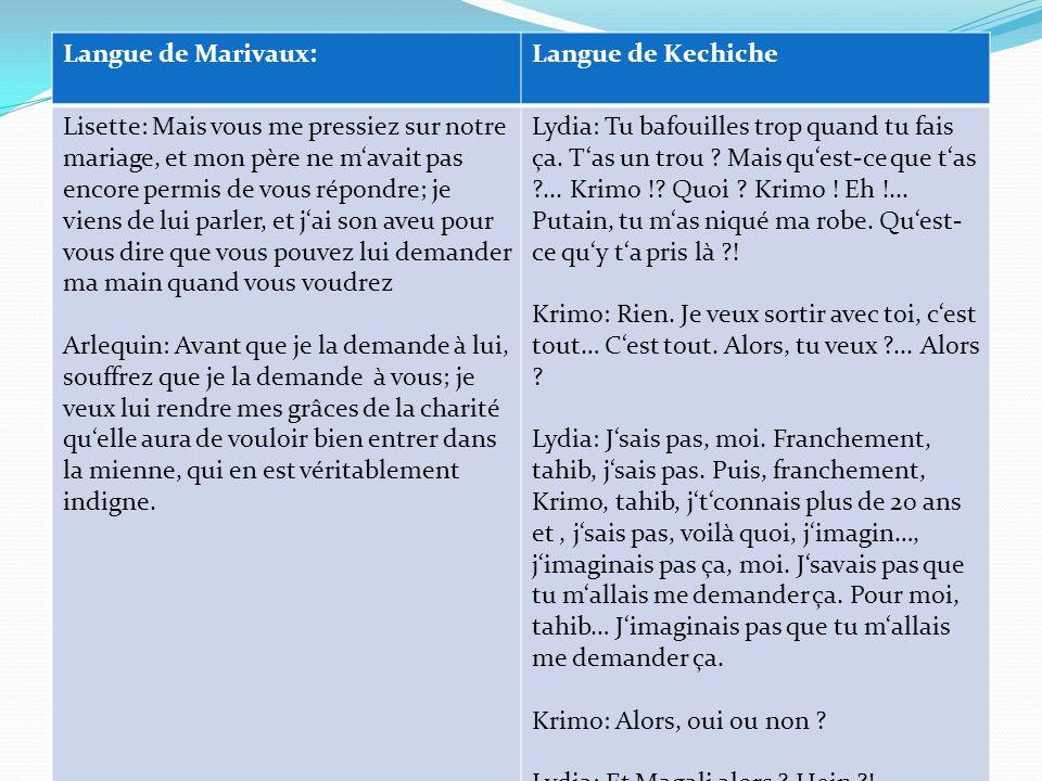 Langue de Marivaux: Langue de Kechiche.