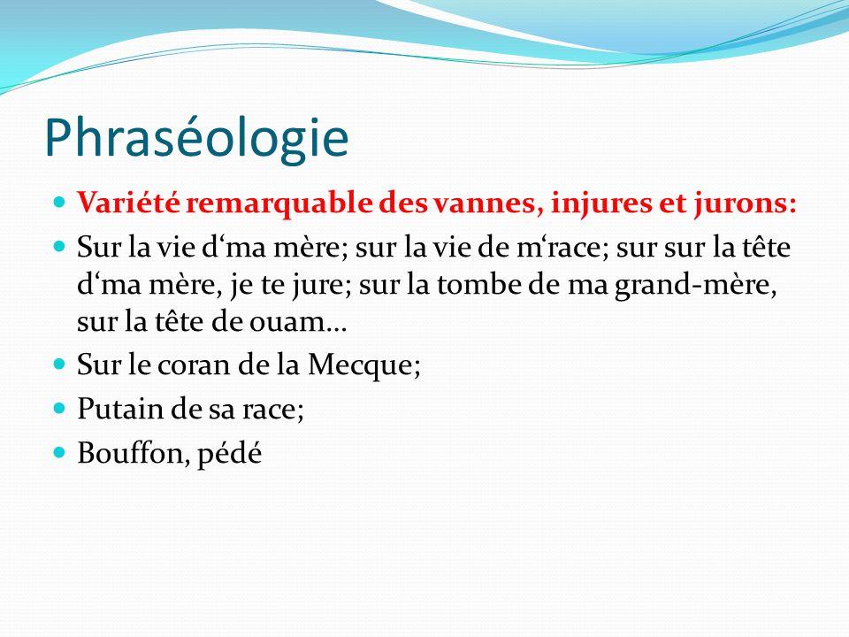Phraséologie Variété remarquable des vannes, injures et jurons: