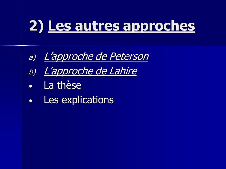 2) Les autres approches L'approche de Peterson L'approche de Lahire