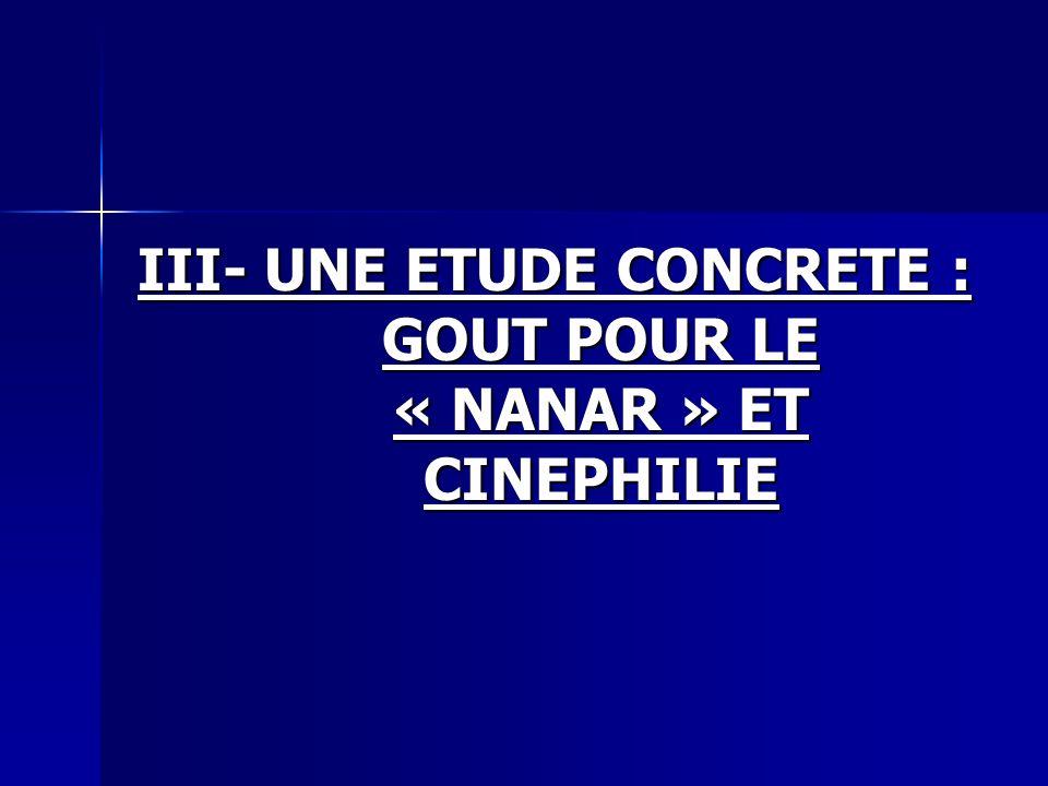 III- UNE ETUDE CONCRETE : GOUT POUR LE « NANAR » ET CINEPHILIE