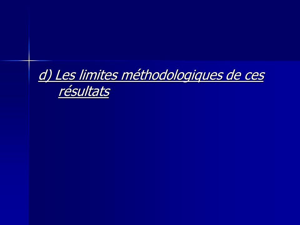 d) Les limites méthodologiques de ces résultats