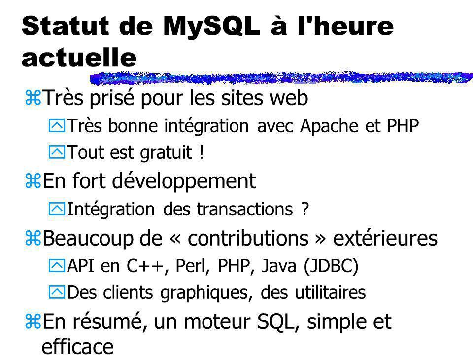 Statut de MySQL à l heure actuelle