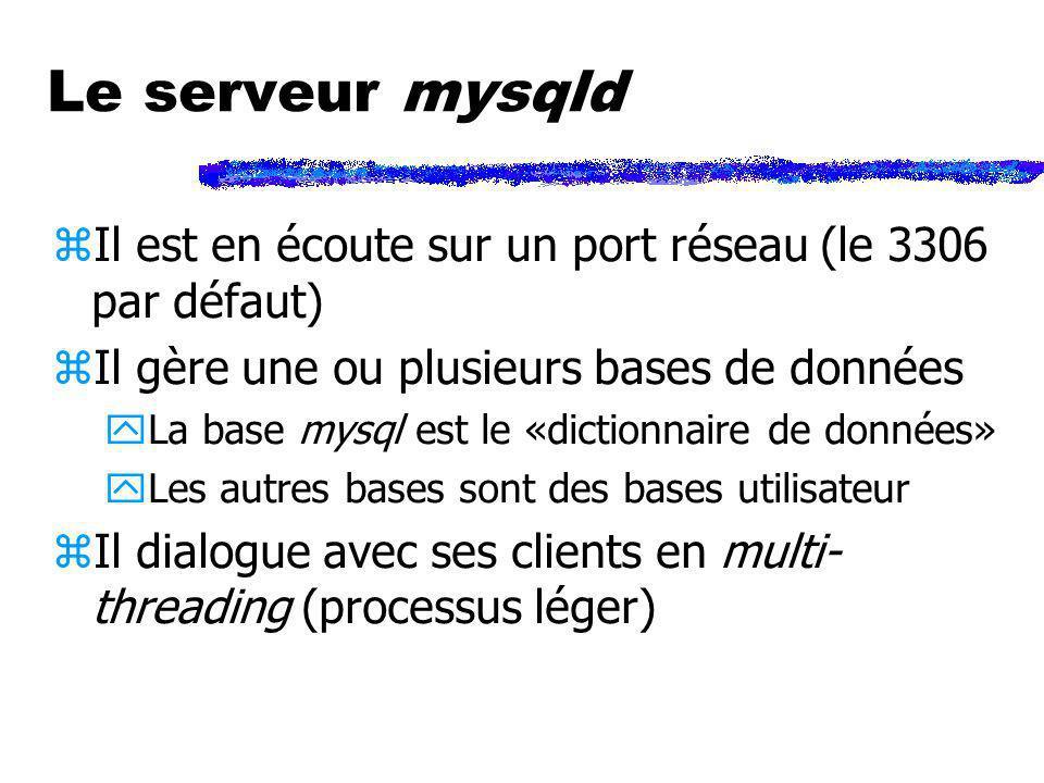 Le serveur mysqld Il est en écoute sur un port réseau (le 3306 par défaut) Il gère une ou plusieurs bases de données.