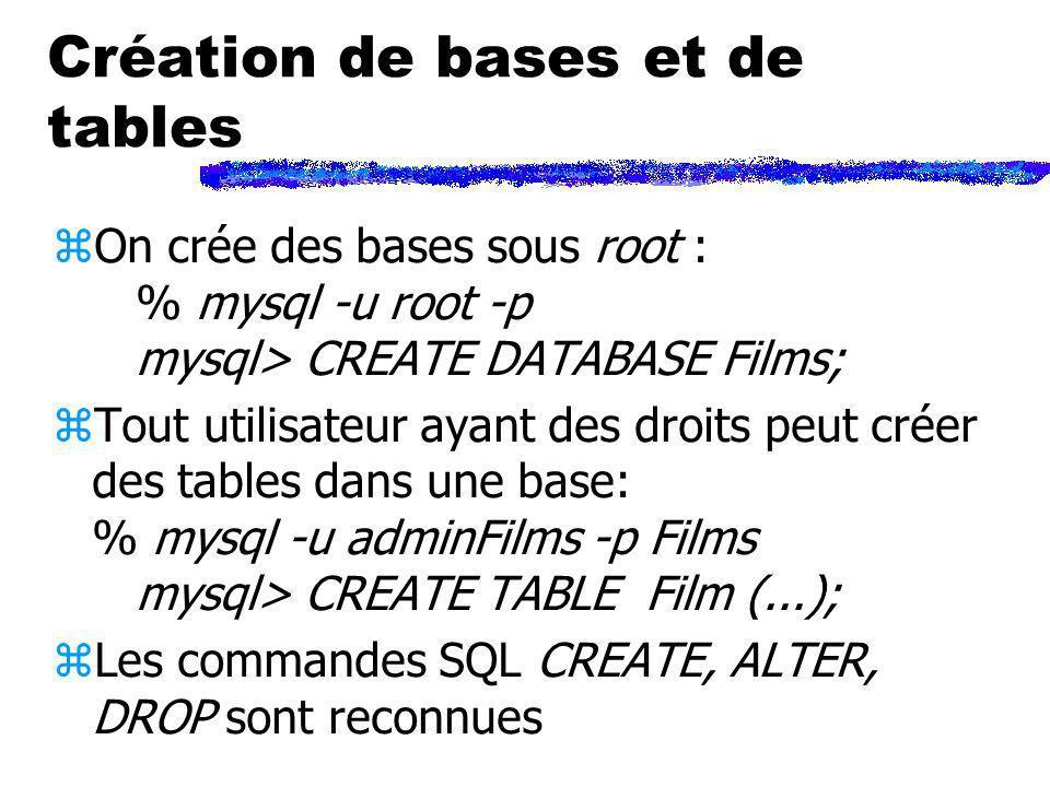 Création de bases et de tables