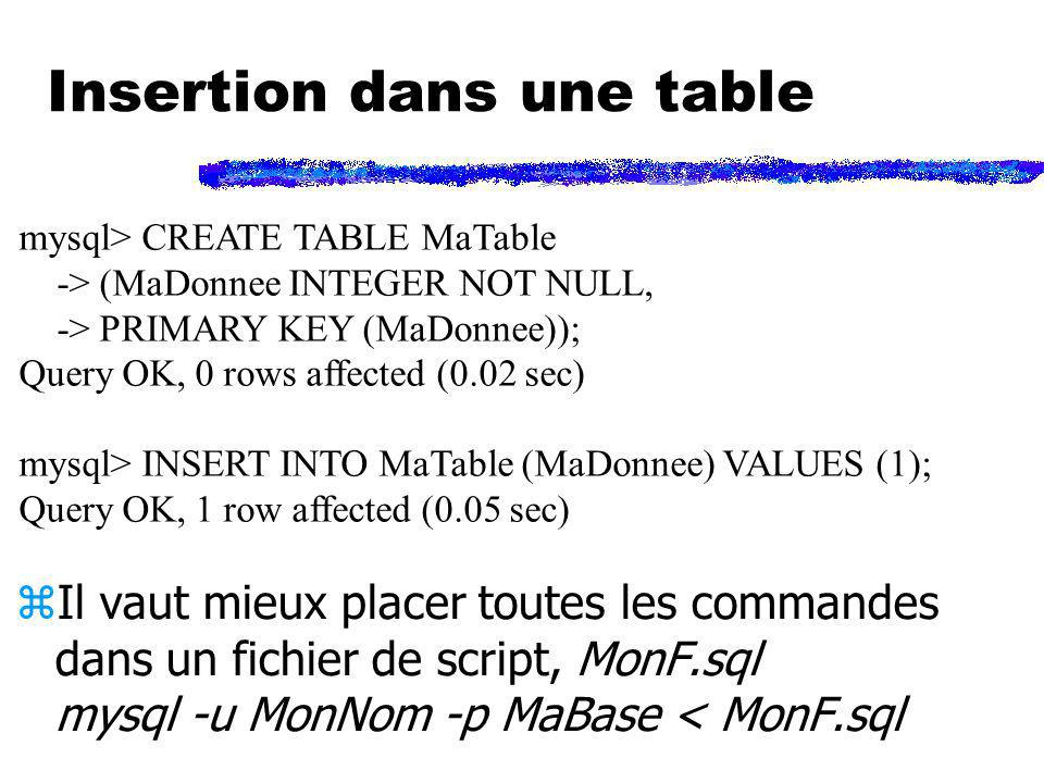 Insertion dans une table