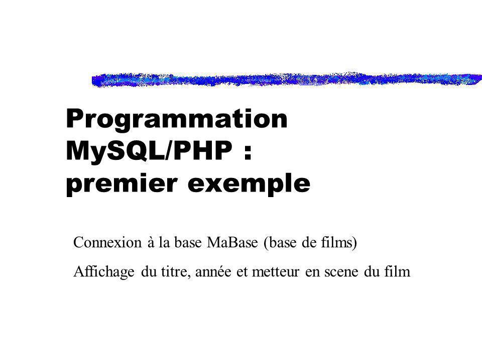 Programmation MySQL/PHP : premier exemple