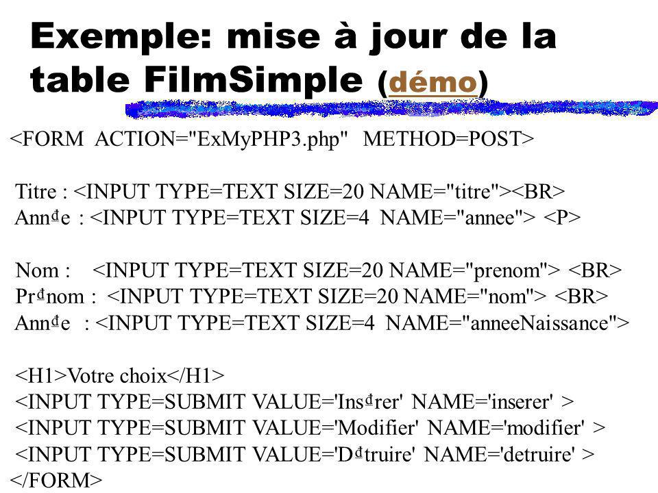 Exemple: mise à jour de la table FilmSimple (démo)
