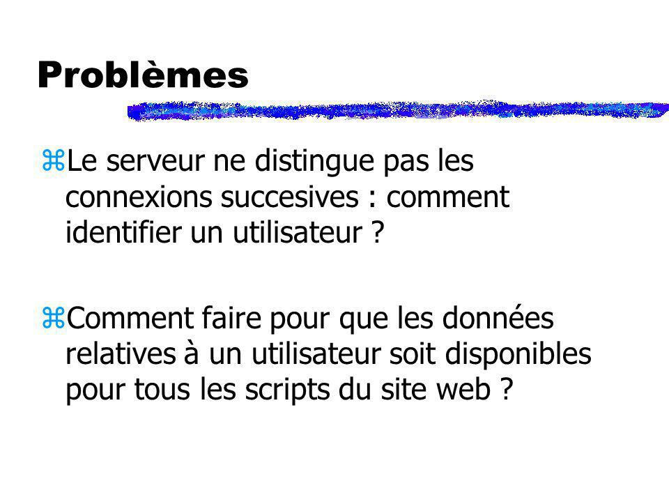 Problèmes Le serveur ne distingue pas les connexions succesives : comment identifier un utilisateur