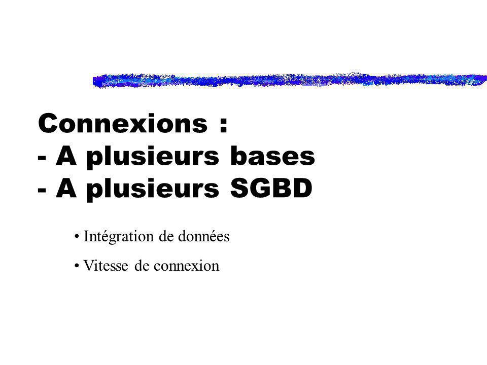 Connexions : - A plusieurs bases - A plusieurs SGBD