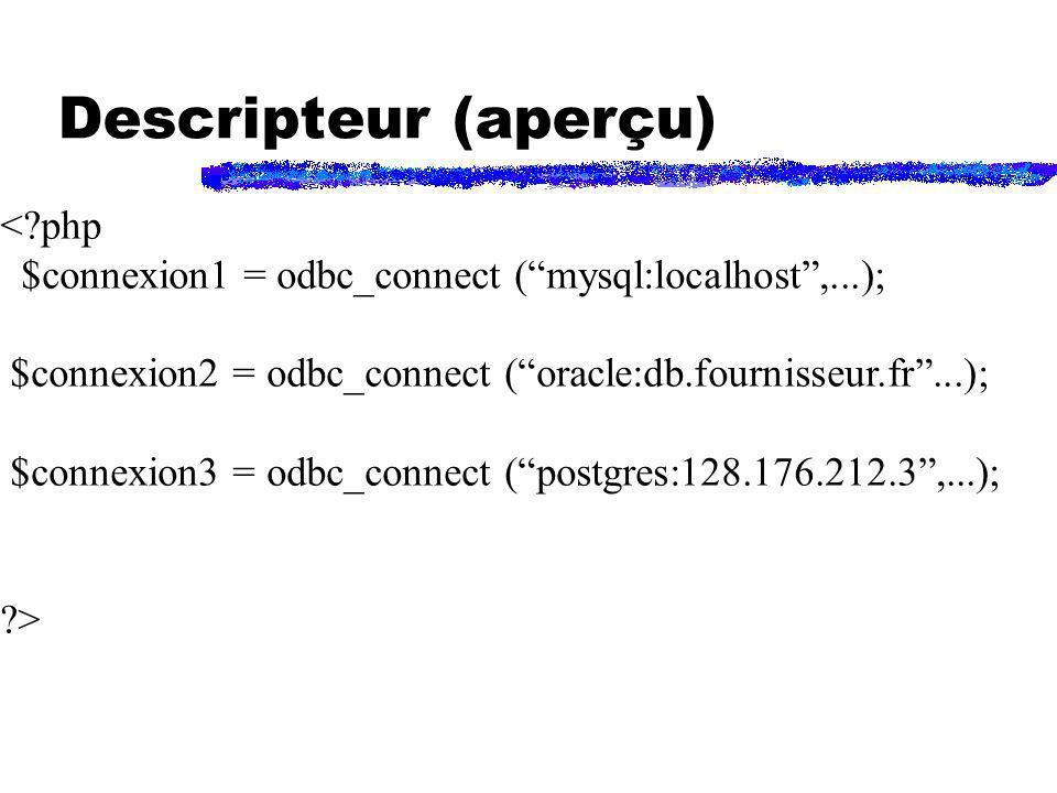 Descripteur (aperçu) < php