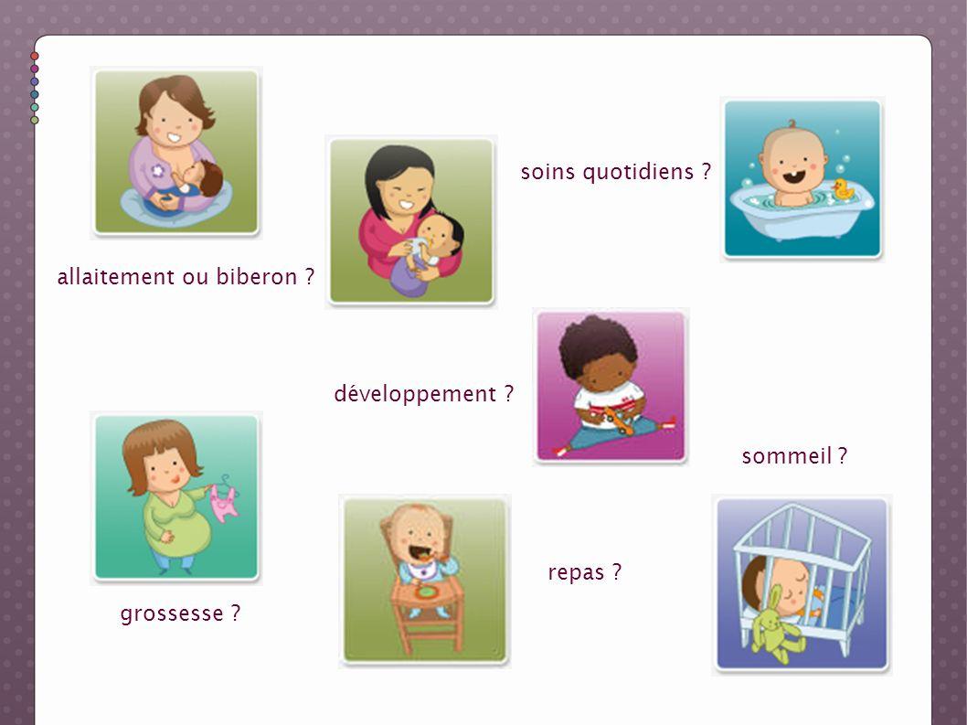 soins quotidiens allaitement ou biberon développement sommeil repas grossesse