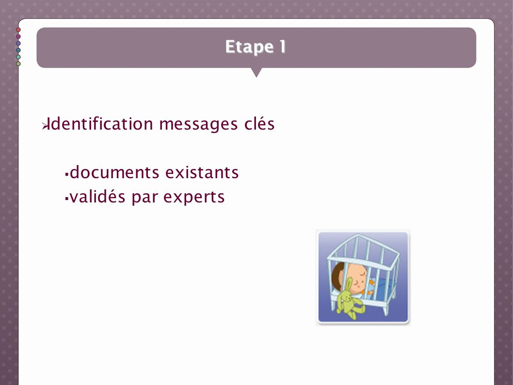 Etape 1 Identification messages clés documents existants validés par experts