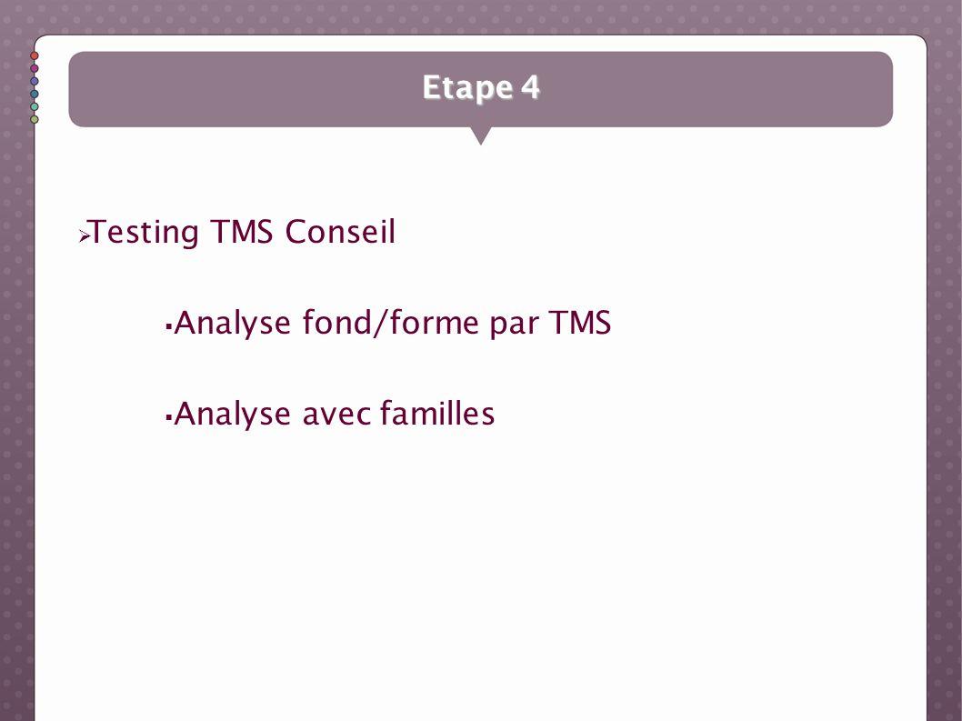 Etape 4 Testing TMS Conseil Analyse fond/forme par TMS Analyse avec familles