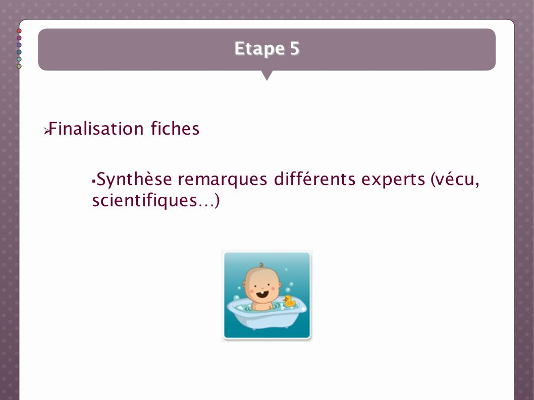 Etape 5 Finalisation fiches Synthèse remarques différents experts (vécu, scientifiques…)