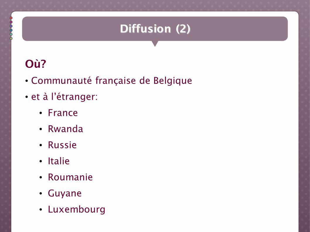 Diffusion (2) Où Communauté française de Belgique et à l'étranger: