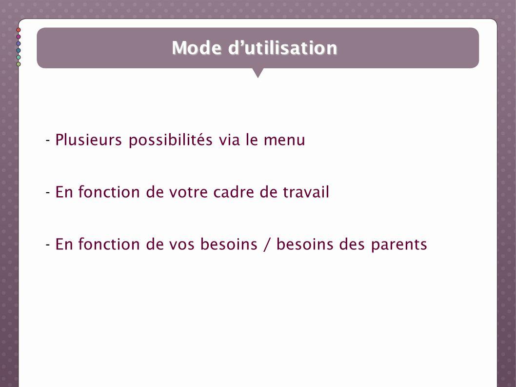 Mode d'utilisation Plusieurs possibilités via le menu