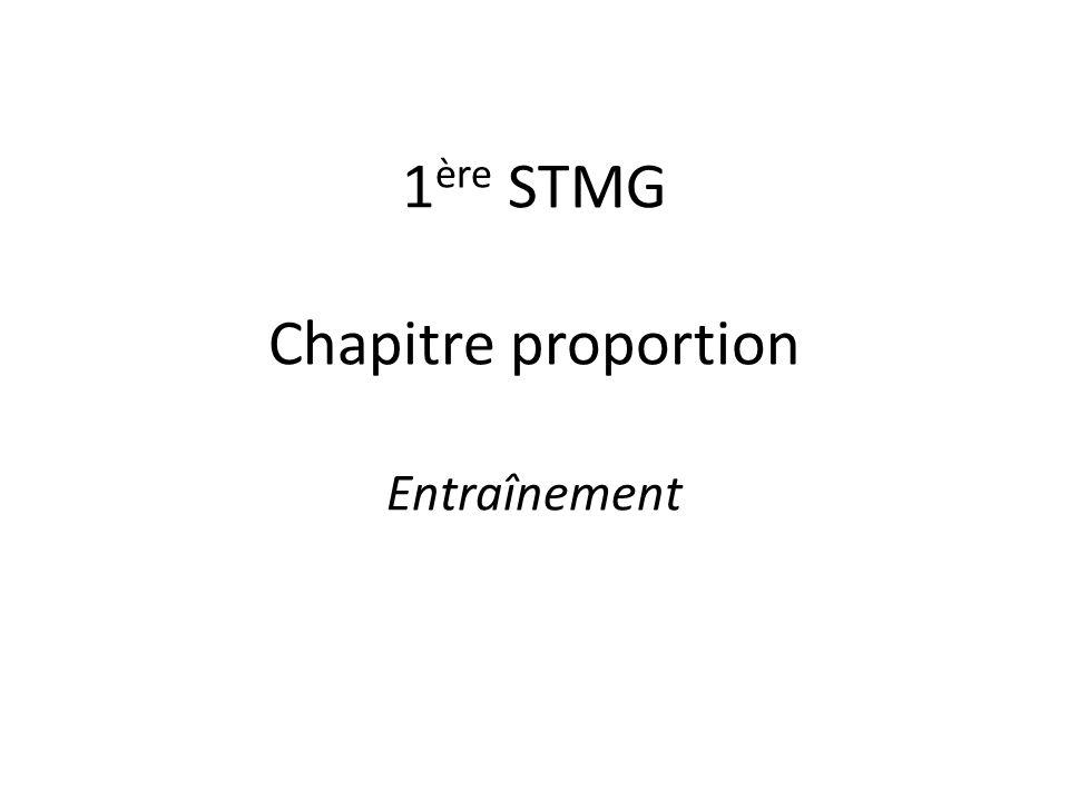 1ère STMG Chapitre proportion Entraînement