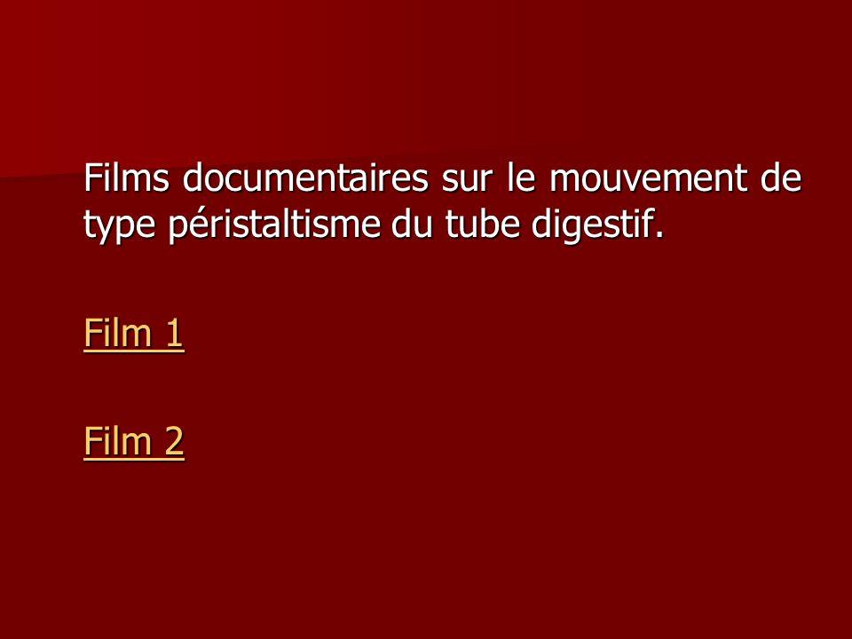 Films documentaires sur le mouvement de type péristaltisme du tube digestif.