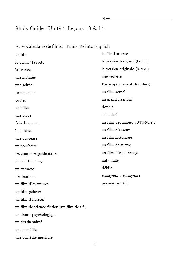 Study Guide - Unité 4, Leçons 13 & 14