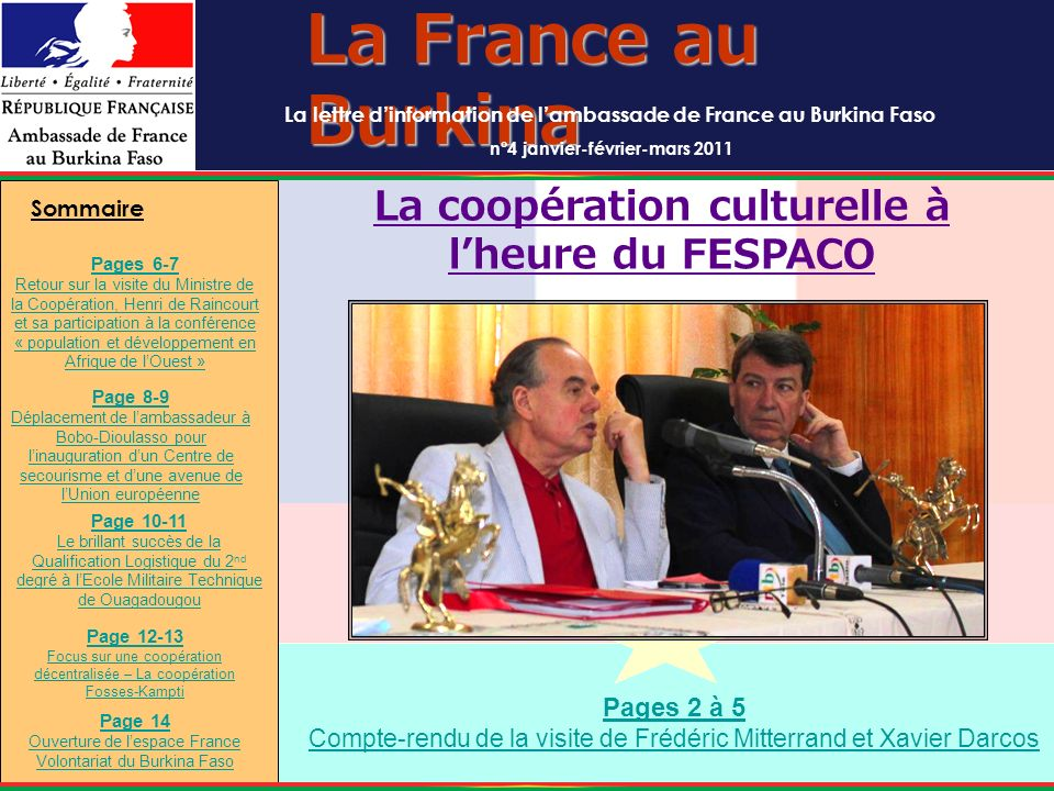 La France au Burkina La coopération culturelle à l'heure du FESPACO