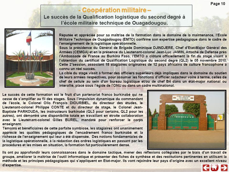 Page 10 - Coopération militaire – Le succès de la Qualification logistique du second degré à l'école militaire technique de Ouagadougou.