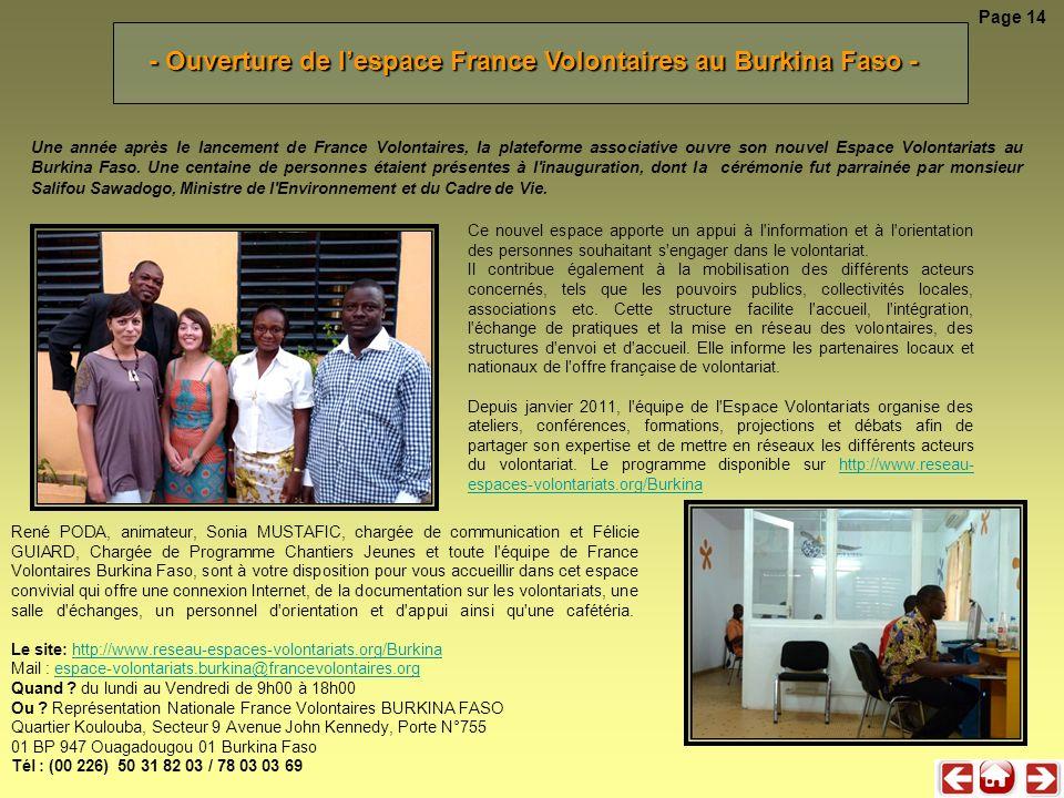 - Ouverture de l'espace France Volontaires au Burkina Faso -